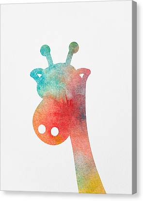 Watercolor Baby Giraffe Canvas Print by Nursery Art