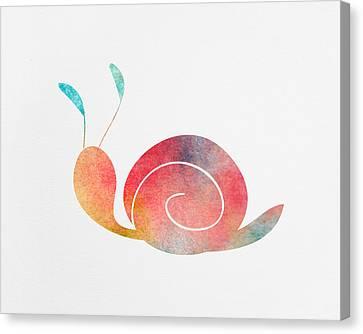 Watercolor Baby Snail Canvas Print by Nursery Art