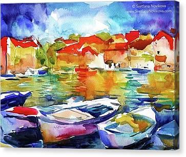 Transportation Canvas Print - Watercolor Boats By Svetlana Novikova ( by Svetlana Novikova