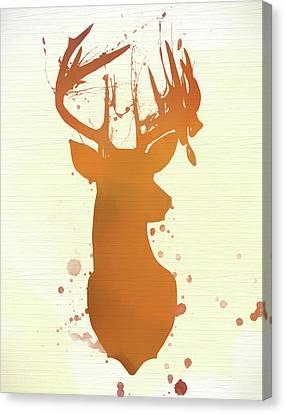 Watercolor Buck Deer Head On Wood Canvas Print by Dan Sproul