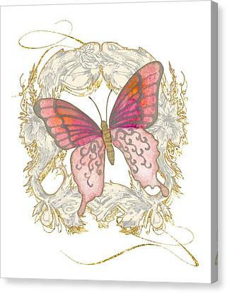 Watercolor Butterfly With Vintage Swirl Scroll Flourishes Canvas Print by Audrey Jeanne Roberts