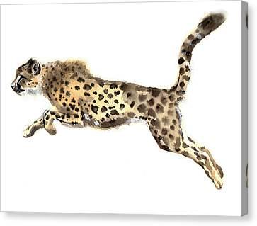 Watercolor Cheetah Canvas Print by Tatyana Komtsyan