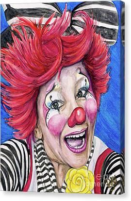 Watercolor Clown #24 Kelly Lynn Diehl Canvas Print by Patty Vicknair