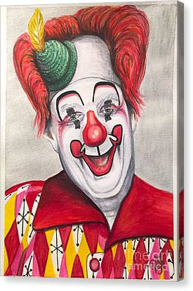 Watercolor Clown #25 Chuck Burnes Canvas Print by Patty Vicknair