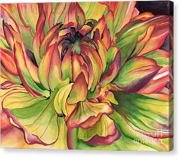 Canvas Print featuring the painting Watercolor Dahlia by Angela Armano