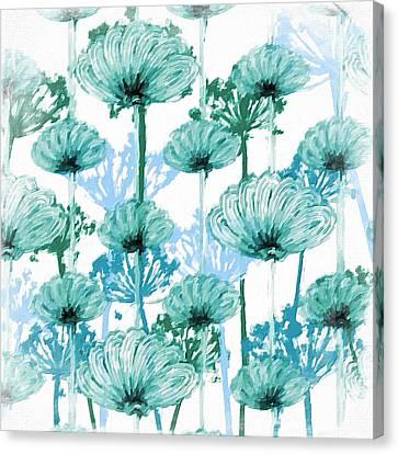 Canvas Print featuring the digital art Watercolor Dandelions by Bonnie Bruno
