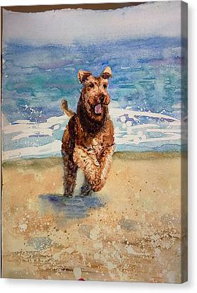 Watercolor Dog Dog Art Print Dog Painting Dog Print Dog Lover Gift Watercolor Original Canvas Print by Karina Soboleva