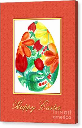 Canvas Print featuring the digital art Watercolor Floral Egg by JH Designs