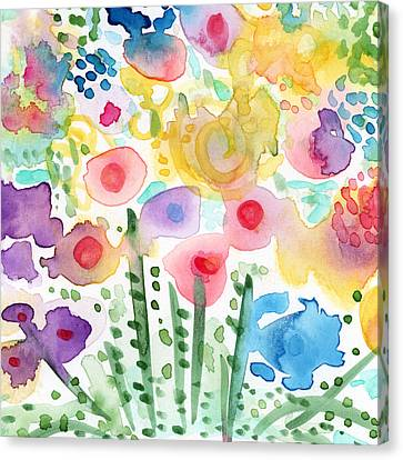 Watercolor Flower Garden- Art By Linda Woods Canvas Print