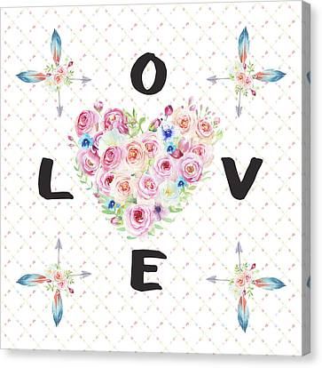 Canvas Print featuring the painting Watercolor Flowers Arrows Love Typography by Georgeta Blanaru