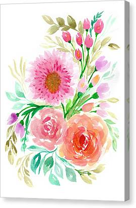 Watercolor Flowers Canvas Print by My Art