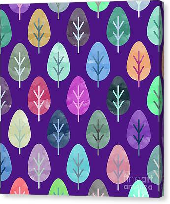 Watercolor Forest Pattern II Canvas Print by Amir Faysal