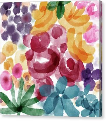 Blue Flowers Canvas Print - Watercolor Garden Flowers- Art By Linda Woods by Linda Woods