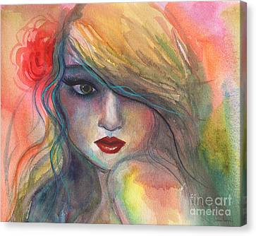 Watercolor Girl Portrait With Flower Canvas Print