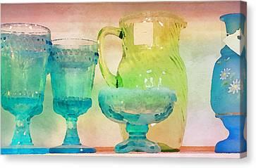 Watercolor Glassware II Canvas Print