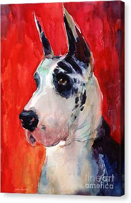 Watercolor Harlequin Great Dane Dog Portrait 2  Canvas Print by Svetlana Novikova