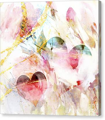 Watercolor Hearts Abstract Canvas Print by WALL ART and HOME DECOR