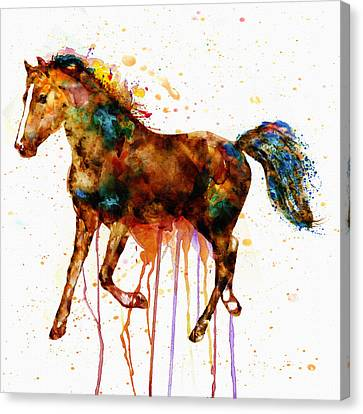 Modern Digital Art Canvas Print - Watercolor Horse by Marian Voicu