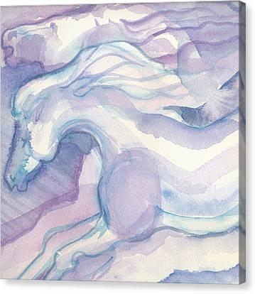 Watercolor Horses II Canvas Print by Linda Kay Thomas