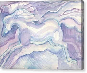 Watercolor Horses Canvas Print by Linda Kay Thomas