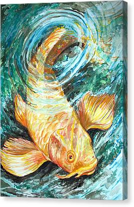 Watercolor Koi Study Canvas Print by Jenn Cunningham