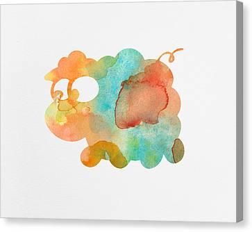 Watercolor Lamb For Nurseries Canvas Print by Nursery Art