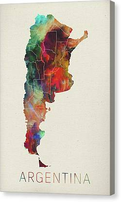 Buenos Aires Canvas Print - Watercolor Map Of Argentina by Design Turnpike