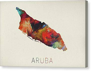 Watercolor Map Of Aruba Canvas Print by Design Turnpike