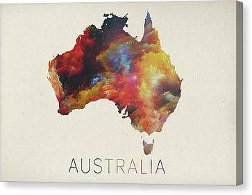 Watercolor Map Of Australia Canvas Print by Design Turnpike