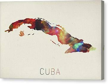 Cuba Canvas Print - Watercolor Map Of Cuba by Design Turnpike