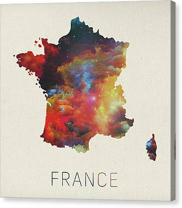 Watercolor Map Of France Canvas Print by Design Turnpike