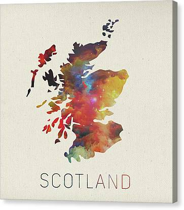 Watercolor Map Of Scotland Canvas Print