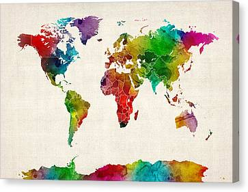 World Map Canvas Print - Watercolor Map Of The World Map by Michael Tompsett