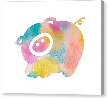 Watercolor Nursery Print - Cute Pig Canvas Print by Nursery Art