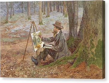 Artist At Easel Canvas Print - Watercolor Painting In The Woods At Knole Park by Charles Green