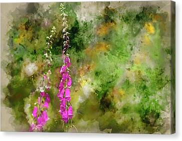 Foxglove Flowers Canvas Print - Watercolor Painting Of Beautiful Summer Garden Landscape With Be by Matthew Gibson