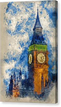 Watercolor Painting Of Big Ben At Twilight Witth Lights Making A Canvas Print by Matthew Gibson