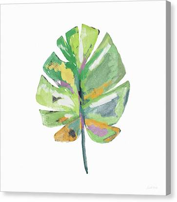 Canvas Print featuring the mixed media Watercolor Palm Leaf- Art By Linda Woods by Linda Woods