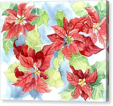Poinsettias Canvas Print - Watercolor Poinsettias Christmas Decor by Audrey Jeanne Roberts