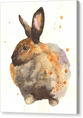Watercolor Rabbit Print - I Am Tahiti Canvas Print by Alison Fennell