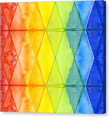 Simplistic Canvas Print - Watercolor Rainbow Pattern Geometric Shapes Triangles by Olga Shvartsur
