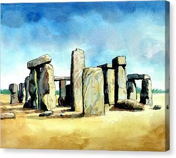 Amesbury Canvas Print - Watercolor Rendering Of Stonehenge by Photos.com
