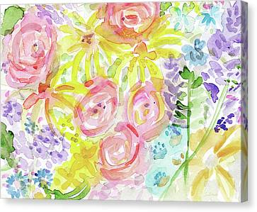 Watercolor Rose Garden- Art By Linda Woods Canvas Print