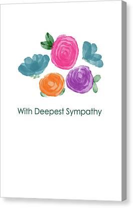 Sympathy Canvas Print - Watercolor Rose Sympathy Card- Art By Linda Woods by Linda Woods
