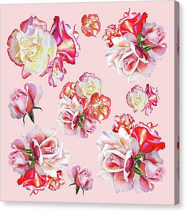 Canvas Print featuring the painting Watercolor Roses Pink Dance by Irina Sztukowski