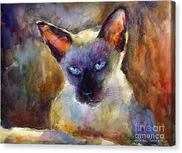 Watercolor Siamese Cat Painting Canvas Print by Svetlana Novikova