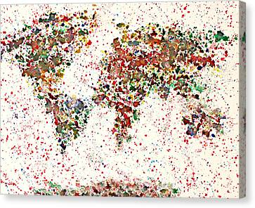 Watercolor Splashes World Map 2 Canvas Print by Georgeta  Blanaru
