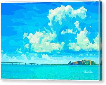 Watercolor Spring On Sarasota Bay Canvas Print by Susan Molnar
