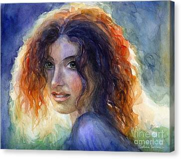 Watercolor Sunlit Woman Portrait 2 Canvas Print by Svetlana Novikova