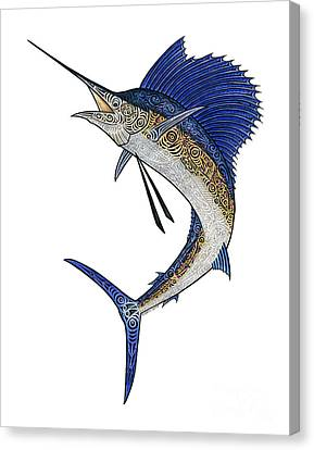 Watercolor Tribal Sailfish Canvas Print by Carol Lynne
